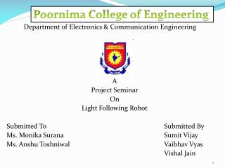 Department of Electronics & Communication Engineering A  Project Seminar On