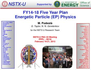 FY14-18 Five Year Plan Energetic  Particle (EP)  Physics