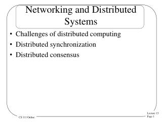 Networking and Distributed Systems