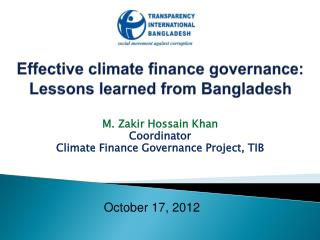 Effective climate finance governance: Lessons learned from Bangladesh