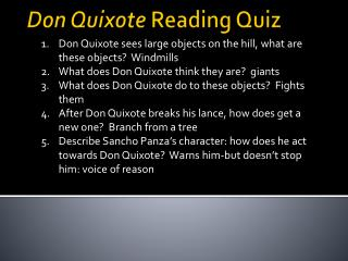 Don Quixote  Reading Quiz
