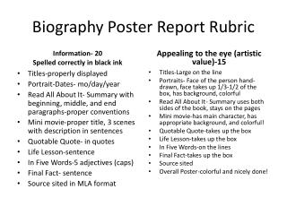 Biography Poster Report Rubric