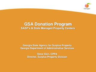 GSA Donation Program SASP s  State Managed Property Centers
