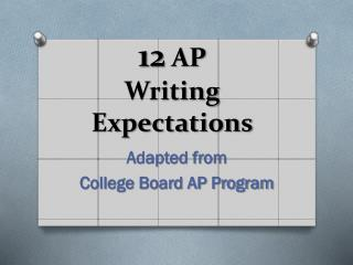 12  AP Writing Expectations