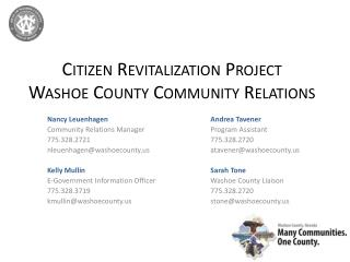 Citizen Revitalization Project Washoe County Community Relations
