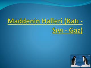 Maddenin Halleri (Katı - Sıvı - Gaz)
