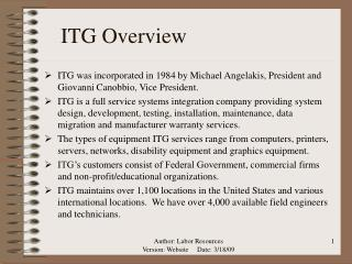 ITG Overview