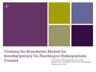 Crossing the Boundaries: Models for Interdisciplinary Co-Teaching in Undergraduate Courses