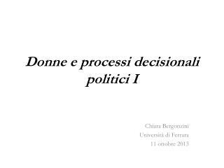 Donne e processi decisionali politici I