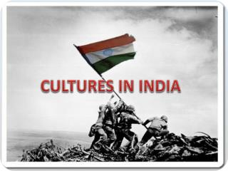 CULTURES IN INDIA