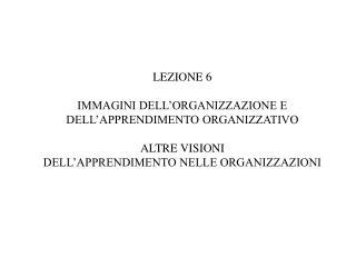 LEZIONE 6 IMMAGINI DELL'ORGANIZZAZIONE E DELL'APPRENDIMENTO ORGANIZZATIVO ALTRE VISIONI