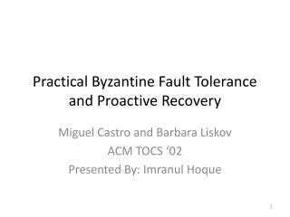 Practical Byzantine Fault Tolerance and Proactive Recovery