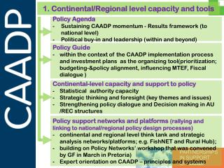 1. Continental/Regional level capacity and tools