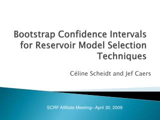 Bootstrap Confidence Intervals for Reservoir Model Selection Techniques