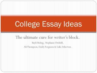 College Essay Ideas