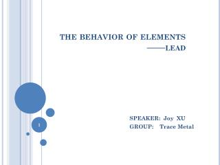 the behavior  of e lements —— lead