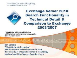 Exchange Server 2010 Search Functionality in Technical Detail &  Comparison  to Exchange 2003/2007