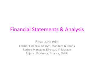 Financial Statements & Analysis