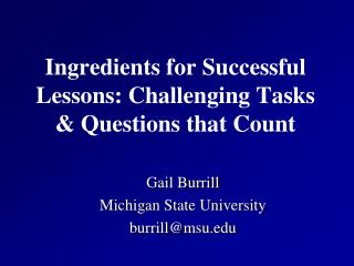 Ingredients for Successful Lessons: Challenging Tasks & Questions that  Count
