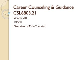 Career Counseling & Guidance CSL6803.21