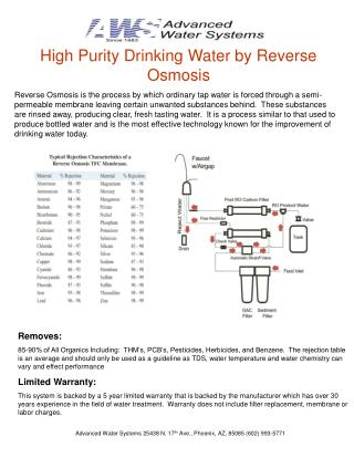 High Purity Drinking Water by Reverse Osmosis