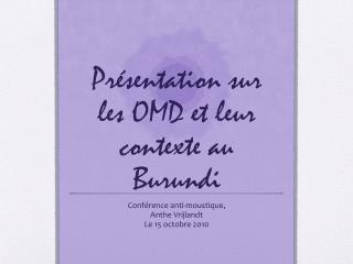 Présentation sur les OMD et leur contexte au Burundi