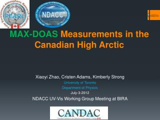 MAX-DOAS  Measurements  in the Canadian High  Arctic