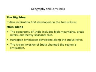 Geography and Early India