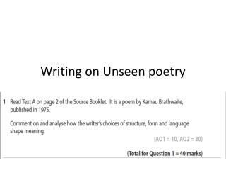 Writing on Unseen poetry