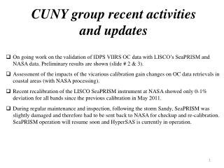 CUNY group recent activities and updates