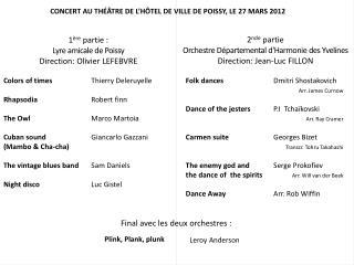 CONCERT AU THÉÂTRE DE L'HÔTEL DE VILLE DE POISSY, LE 27 MARS 2012