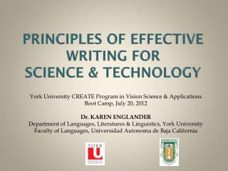 Principles of Effective Writing for Science & Technology