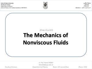 (Chap.13 p.315) The Mechanics of  Nonviscous Fluids