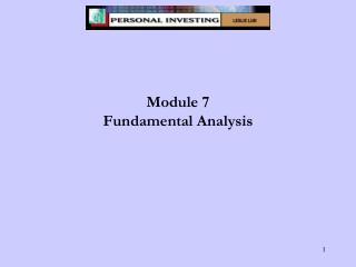 Module 7 Fundamental Analysis