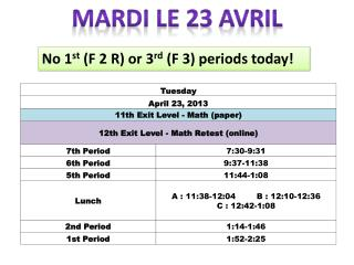 Mardi le 23  avril