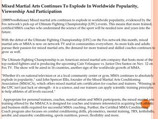 Mixed Martial Arts Continues To Explode In Worldwide Popular