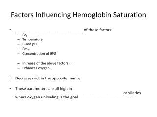 Factors Influencing Hemoglobin Saturation