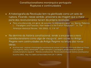 Constitucionalismo mon rquico portugu s Rupturas e continuidades