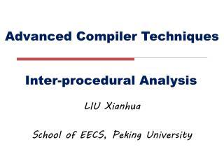 Advanced Compiler Techniques