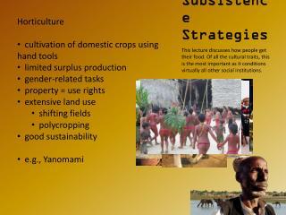 Subsistence Strategies
