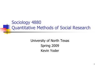 Sociology 4880 Quantitative Methods of Social Research