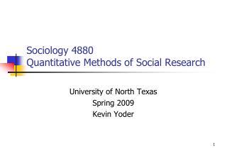 Sociology 4880 Quantitative Methods of Social Research