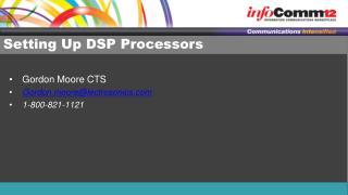Setting Up DSP Processors