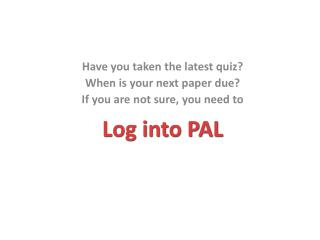 Log into PAL