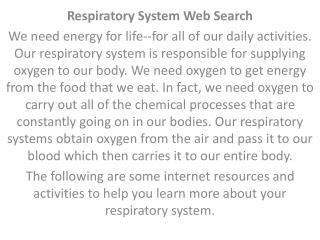 Respiratory  System Web Search