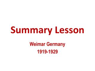 Summary Lesson