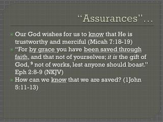 """""""Assurances""""…"""