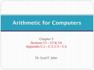 Arithmetic for Computers
