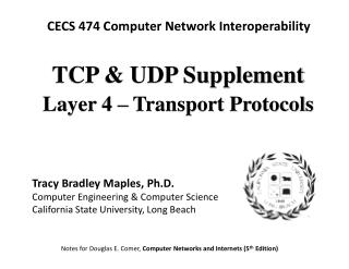 TCP & UDP Supplement Layer 4 � Transport Protocols