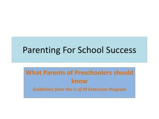 Parenting For School Success